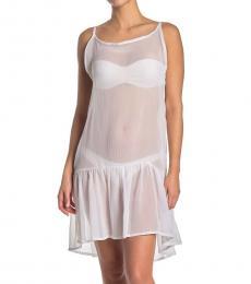 Rachel Roy White Sheer Flounce Hem Cover-Up Dress