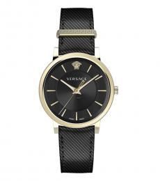 Versace Black Gold Logo Watch