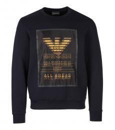 Navy Blue Gold Logo Sweatshirt