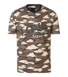 Love Moschino Camo Print Graphic Logo T-Shirt