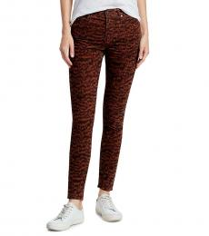 AG Adriano Goldschmied Crimson Black Farrah Print Corduroy Skinny Jeans