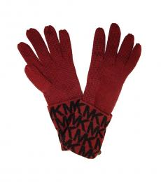 Michael Kors Red Signature Logo Gloves