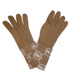 Michael Kors Light Brown Signature Logo Gloves