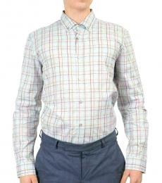 Light Blue Multi-Color Slim Fit Shirt
