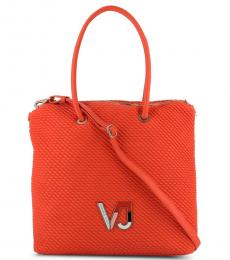 Orange Pleated Large Tote