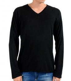 Black V-Neck Silk Pullover