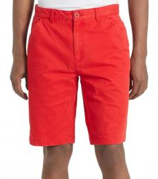 Racing Red Twill Flat Front Shorts