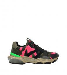 Green Fuchsia Camo Print Sneakers