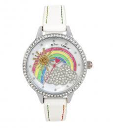 White Crystal Rainbow Motif Dial Watch