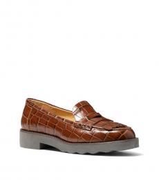 Michael Kors Chestnut Alberta Croc Print Loafers