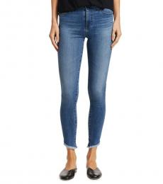 AG Adriano Goldschmied Medium Blue Farrah Skinny Frayed Jeans