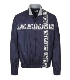 Love Moschino Dark Blue Logo Stripe Jacket