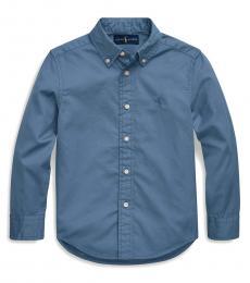 Little Boys Fall Blue Garment-Dyed Twill Shirt