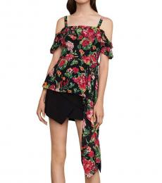 BCBGMaxazria Black/Multi  Floral Print OffShoulder Top