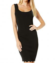 BCBGMaxazria Black Scalloped Sheath Dress