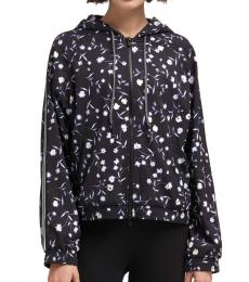 DKNY Black Striped Floral Jacket