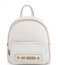 Love Moschino White Solid Medium Backpack