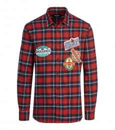 Dsquared2 Red Check Logo Patch Shirt