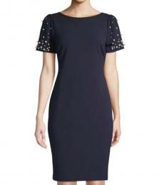 Karl Lagerfeld Navy Blue Embellished Sheath Dress
