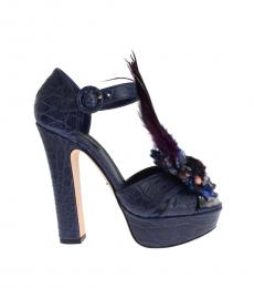 Dolce & Gabbana Blue Croc Print Feather Pumps