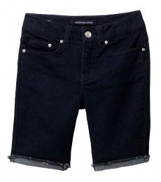 Girls Dark Rinse Cut-Off Bermuda Shorts