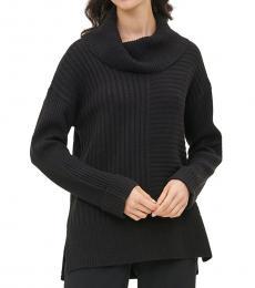 Calvin Klein Black Cowl Neck Mixed Ribbed Sweater