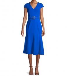 Capri Belted Cap-Sleeve Flare Dress
