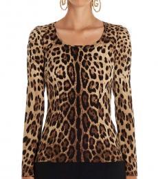 Leopard Print Scoop Neck Blouse