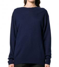 Chloe Navy Blue Cashmere Cutout Back Sweater