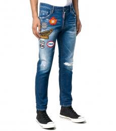 Dsquared2 Blue Patch Embellished Skinny Jeans