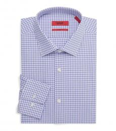 Hugo Boss Purple Sharp-Fit Gingham Dress Shirt