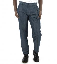 Light Blue Linen Belt Loops Pants