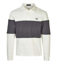 Fred Perry White Long Sleeve Logo Polo