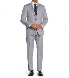 Vince Camuto Grey Solid Notch Lapel Slim Fit Suit
