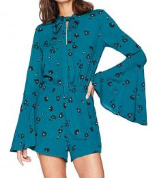 Billabong Teal Bell Sleeves Romper
