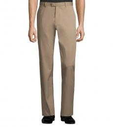 Brown Stretch-Fit Cotton Pants