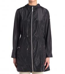 Vince Camuto Black Solid Hooded Anorak Jacket