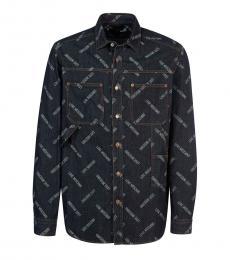 Dark Blue Logo Denim Shirt