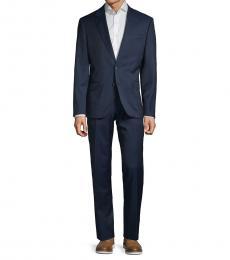 Karl Lagerfeld Navy Blue Slim-Fit Textured Suit