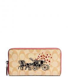 Coach Light Khaki Horse & Carriage Accordion Wallet