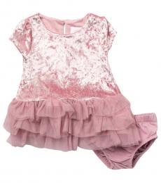 BCBGirls Baby Girls Pink Tiered Velvet Dress