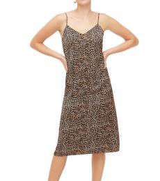 J.Crew Brown Leopard V-Neck Slip Dress