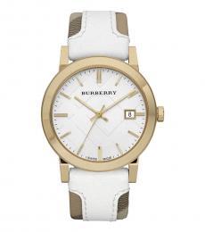 Burberry White-Brown Gold Heymarket Watch