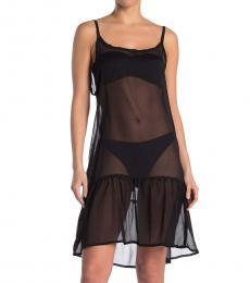 Rachel Roy Black Sheer Flounce Hem Cover-Up Dress
