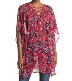 Tommy Bahama Resort Red Island Paisley Lace-Up Tunic
