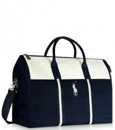 Ralph Lauren Blue White Weekender Large Duffle Bag