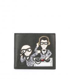 Dolce & Gabbana Black Front Designer Patch Wallet