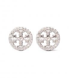 Tory Burch Silver Miller Pave Stud Earrings