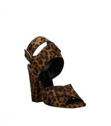 Saint Laurent Leopard Print Side Logo Heels