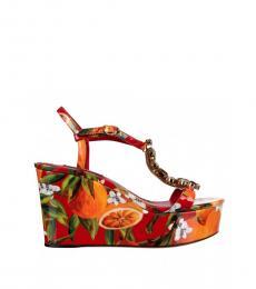 Dolce & Gabbana Multicolor Printed Embellished Wedges